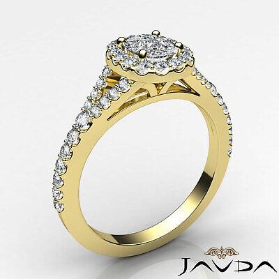 Halo Split Shank French U Pave Cushion Diamond Engagement Ring GIA F VS2 1.21 Ct 8