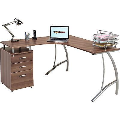 Home Office Corner Laptop Table w Drawers Piranha Furniture Walnut Effect PC 28w