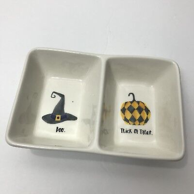 Rae Dunn Halloween Tray Candy Dish Platter Boo Trick Treat Witches Hat Pumpkin - Halloween Platters