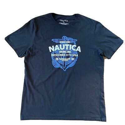 Men's Nautica Graphic Short Sleeve T Shirt 100% Cotton Size XL Anchor/Rope