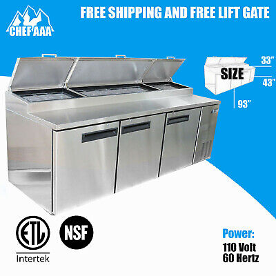 Pizza Prep Table Refrigerator Commercial Cooler 3 Door 93 Stainless Steel Nsf