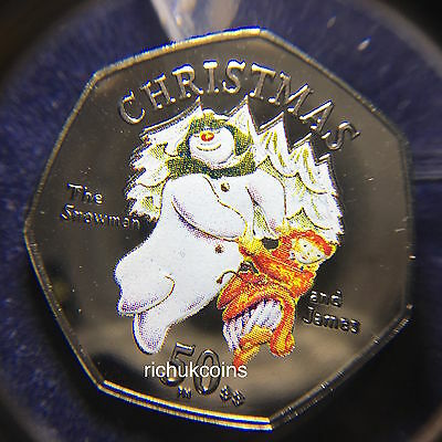 2003 IOM Xmas Colour-printed Diamond Finish 50p Coin with BB die letters