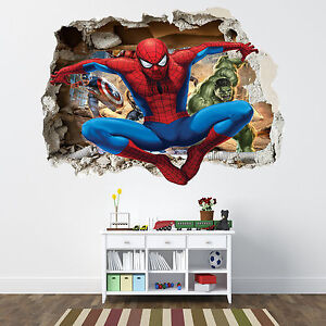 Spiderman smashed wall sticker bedroom boys avengers - Letto di spiderman ...
