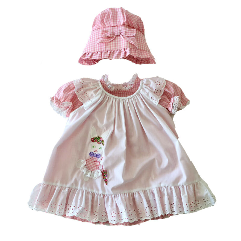 3 Pc Vintage Girls Dress Pink Gingham Easter Bunny 4T Pinafore Eyelet Lace