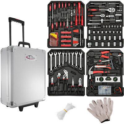 Gereedschapskoffer met gereedschap set koffer 599 delig toolbox trolley wielen