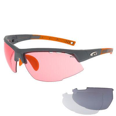 Radbrille Sportbrille Fahrradbrille mit Wechselscheiben rosa klar grau Rennrad