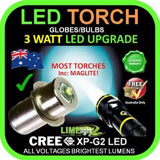 CREE LED GLOBE BULB UPGRADE TORCH MAGLITE FLASHLIGHT TOOL LIGHT Balwyn North Boroondara Area Preview