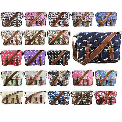 Satchel Cross Body Shoulder Hand Bag Canvas School College Girls Ladies