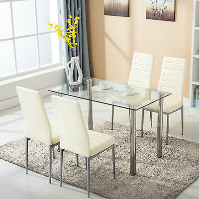 سفرة جديد 5 Piece Dining Table Set w/4 Chairs Glass Metal Kitchen Room Breakfast Furniture
