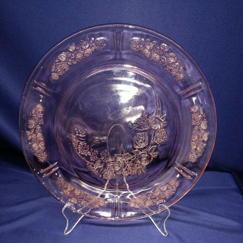 "5 Pink Depression Glass Cabbage Rose 9"" Dinner Plates Circa 1935-1939"