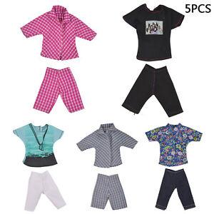 5 Sets Casual Suits Clothes Tops Pants For Barbie Boy Friend Ken Doll JL