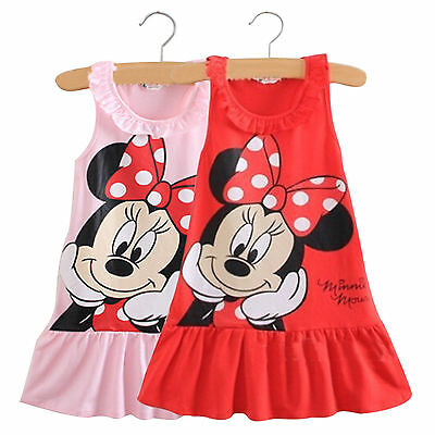 Kids Baby Girls Minnie Mouse Cartoon Sleeveless Clothes Party Short Mini Dress (Mini Mouse Party)