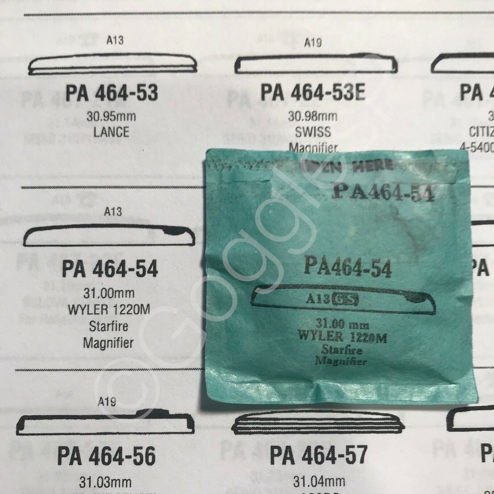 PA Series GS Round Replacement Crystals for Swiss Watches NOS