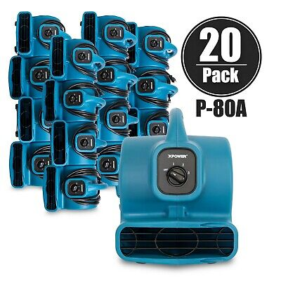 Xpower P-80a 18 Hp Mini Air Mover Carpet Dryer Blower Floor Fan 20 Pack