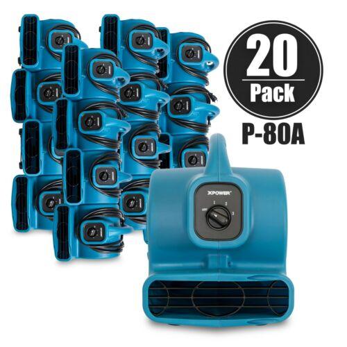 XPOWER P-80A 1/8 HP 1.2 Amp Mini Air Mover Carpet Dryer Blower Floor Fan-20 Pack