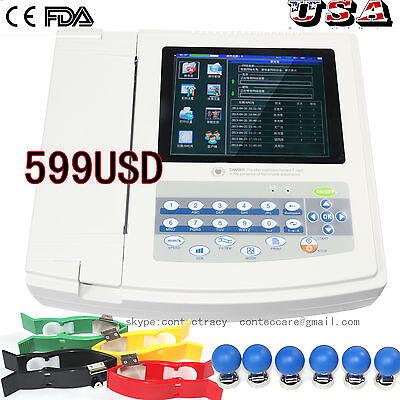 Us 12-lead Digital 12 Channel Electrocardiograph Ecgekg Machine With Printersw