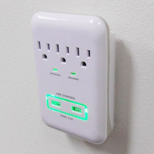 3-Outlet Surge Protector wall tap with 2 USB Ports 3.1A 900J Protection