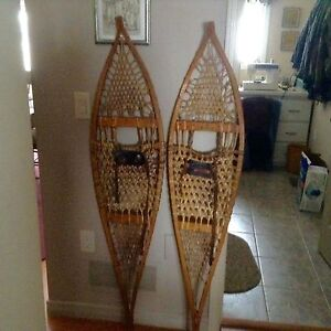 3 pair of Wooden snowshoes
