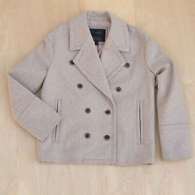 $288 J Crew Melton Wool Italy Double Breasted Peacoat Neutral Beige/blush Size 6 Double Breasted Melton Peacoat