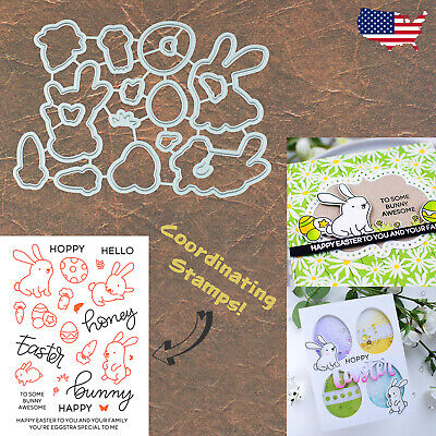 Easter Bunnies w Eggs, Carrots & Sentiments Cutting Dies & Stamp Set – Awesome
