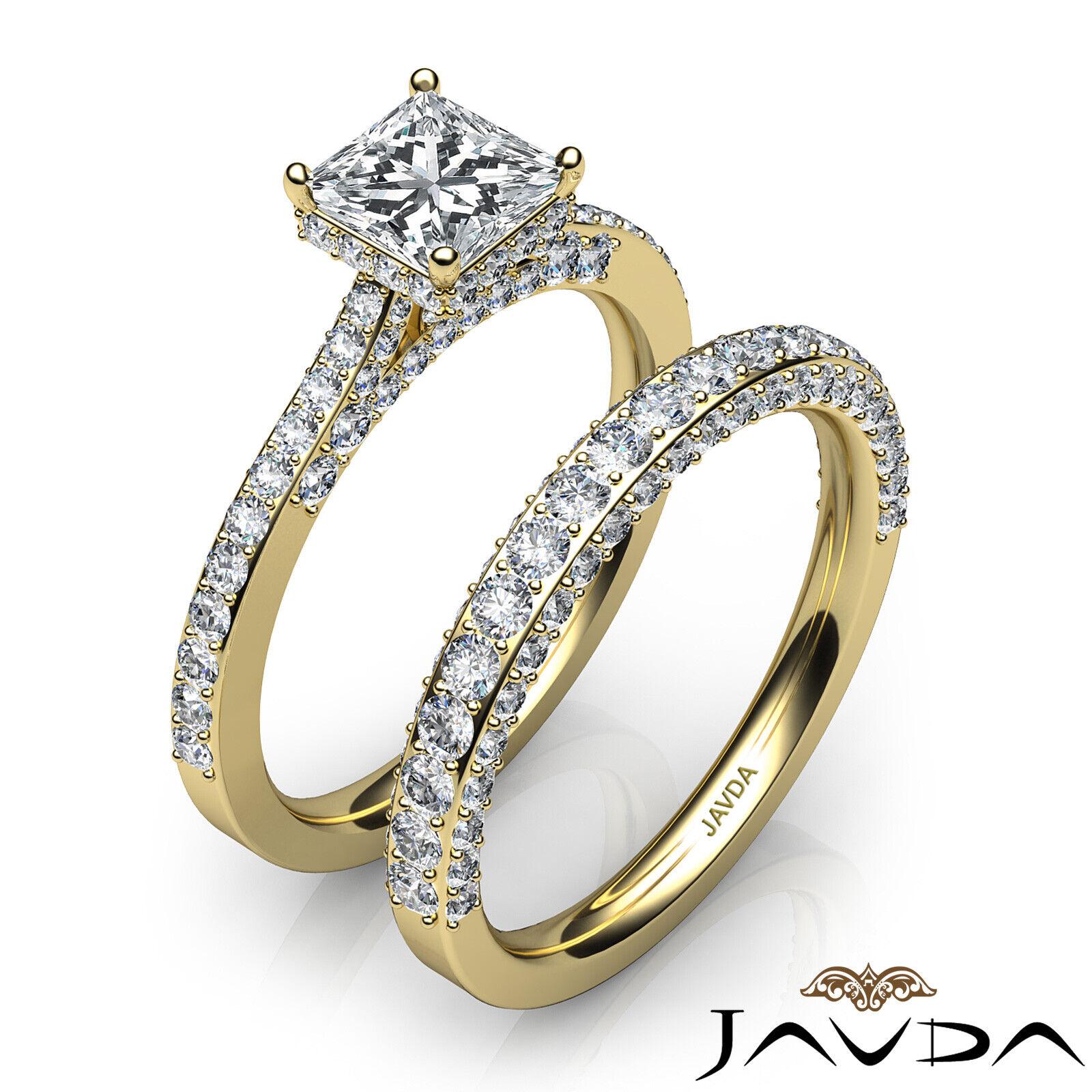 2.35ctw Circa Halo Pave Wedding Set Princess Diamond Engagement Ring GIA G-VVS1 10
