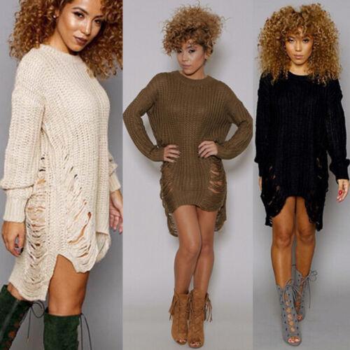 Womens Long Sleeve Sweater Mini Jumper Dress Winter Knitted