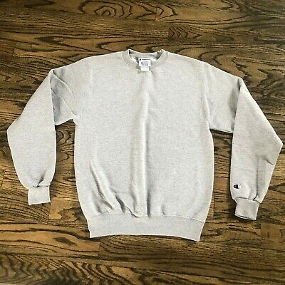 CHAMPION ECO Authentic Crew Neck Pullover Sweatshirt Gray Size S Embroidery Logo Champion Crew Neck Sweatshirt
