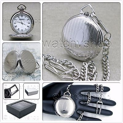 Pocket Watch Silver Plated Full Hunter Vintage 42 MM for Men with Fob Chain P89