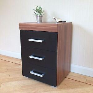 3 Drawer Black Walnut Bedside Cabinet Table 3 Draw Chest Bedroom Furniture Ebay
