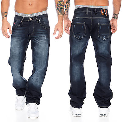Rock Creek Herren Jeans Hose Denim Blau Straight-Cut Gerades Bein RC-2091 ()