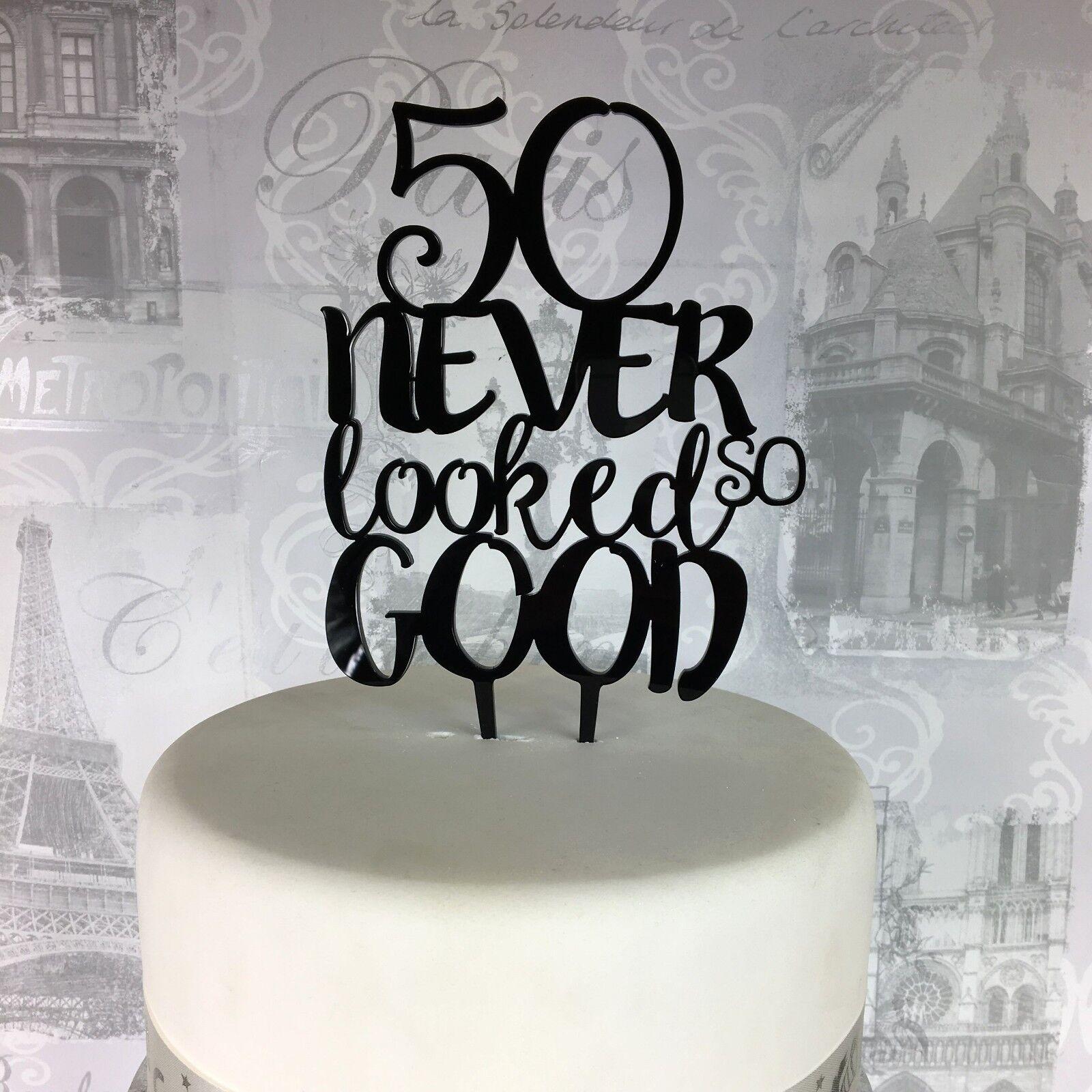 Fine 50Th Birthday Cake Topper Acrylic Plastic Glitter Mirror 30 40 50 Personalised Birthday Cards Akebfashionlily Jamesorg