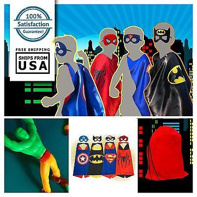 Superhero Kids Cape & Mask Comics Costume Dress Up Set Birthday Party Favors