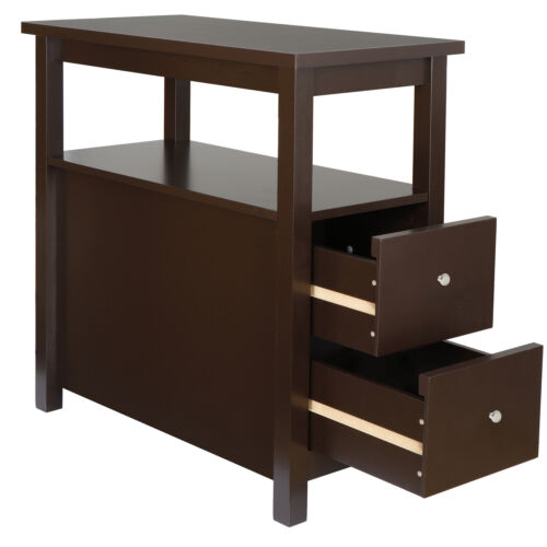 Chairside End Table with 2 Drawer and Shelf Narrow Nightstand for Living Room Furniture