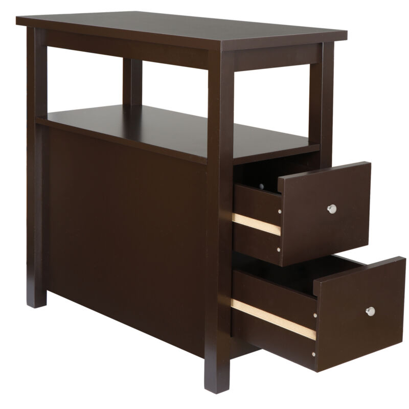 End Table with 2 Drawer and Shelf Narrow Nightstand for Living Room Chairside