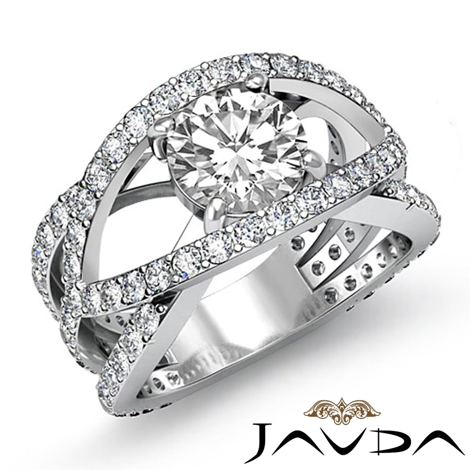 Bypass Design Micro Pave Women's Round Diamond Engagement Ring GIA F VS1 2.7 Ct