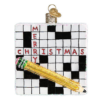 Black and White Crossword Puzzle 3.25 x 3.5 Glass Blown Christmas
