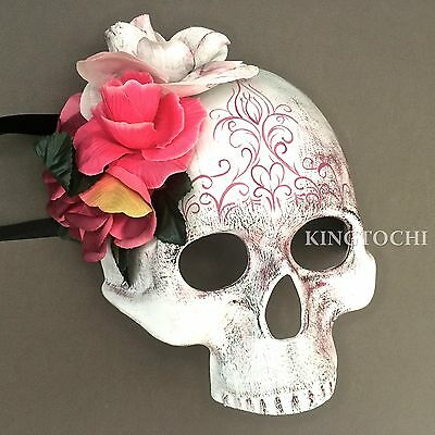 Halloween Day of the Dead Skull Flower Half Face Masquerade Scary Mask (Half Dead Face Halloween)