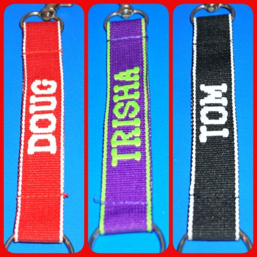 """Personalized Lanyard Key Chain Ring Clasp Embroidered Choose Name 6"""" Colorful JB"""