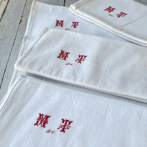 MT monogram Antique French linen towels country kitchen bathroom hand old linen