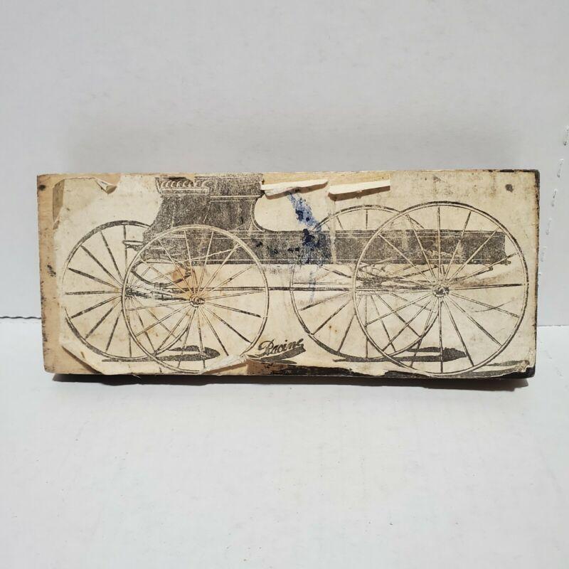 Antique Copper Wood Block Stamp Racine Early Car Print Press