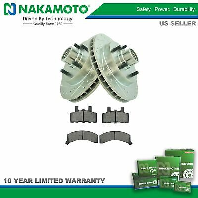 Nakamoto Front Ceramic Brake Pad & Performance Drilled Slotted Coated Rotors