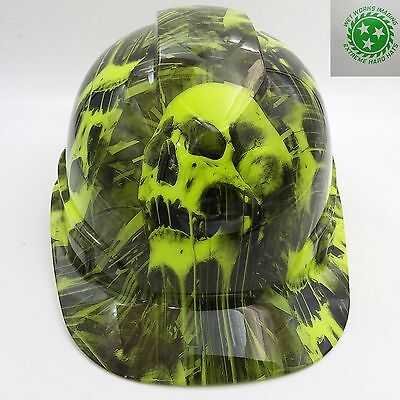 Hard Hat Cap Style Custom Hydro Dipped Osha Approved Melting Skulls New