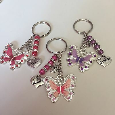 Personalised Handmade Enamel Butterfly Keyring Bag Charm Gift