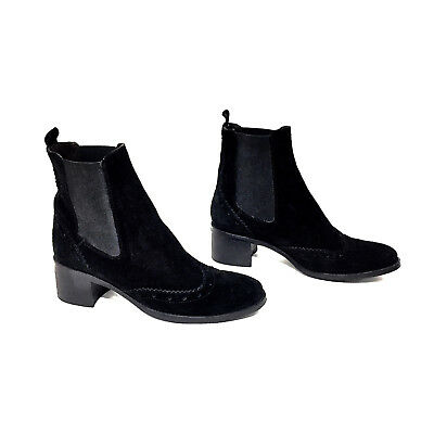 Women's Sesto Meucci Black Suede & Elastic Ankle Boots w/ Saddle Detail Size 7 M Flexible Womens Saddle