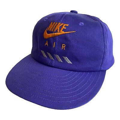 Vintage 80s Nike Air Purple Embroidered Snapback Baseball Hat Jordan Retro Rare