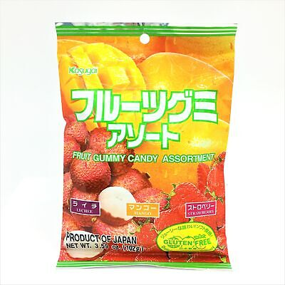 Japanese Kasugai Gummy Candy Assortment- Lychee+Mango+Strawberry 3.59 oz Kasugai Mango Gummy