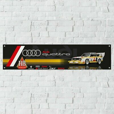 Audi Quattro Rally Car Banner Garage Workshop PVC Sign Trackside Group B Display