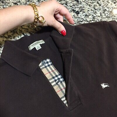 S Small Authentic Burberry London Men's Polo Shirt Brown Check Placket Short Sle