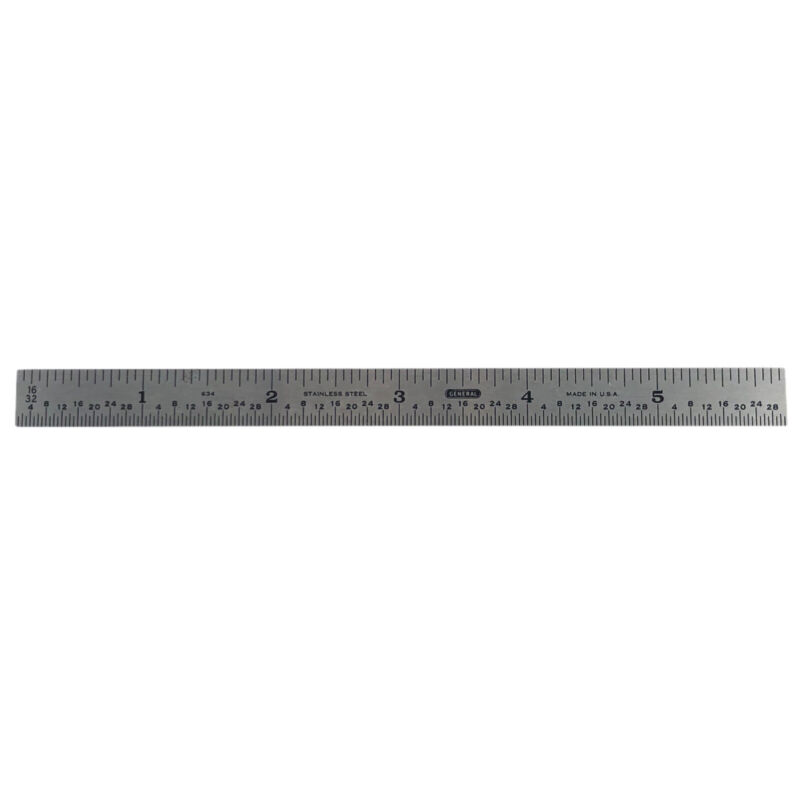 """General Stainless Steel 6"""" Machinist Ruler 634 Straight Edge Made In USA"""