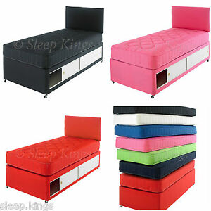 2ft6 3ft single kids coloured divan bed with mattress for Single divan bed with headboard